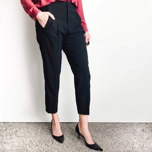 Helmut Lang Wool Pleated Ankle Trousers